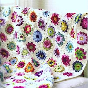 Vintage Afghan Throw Crocheted Floral Blanket