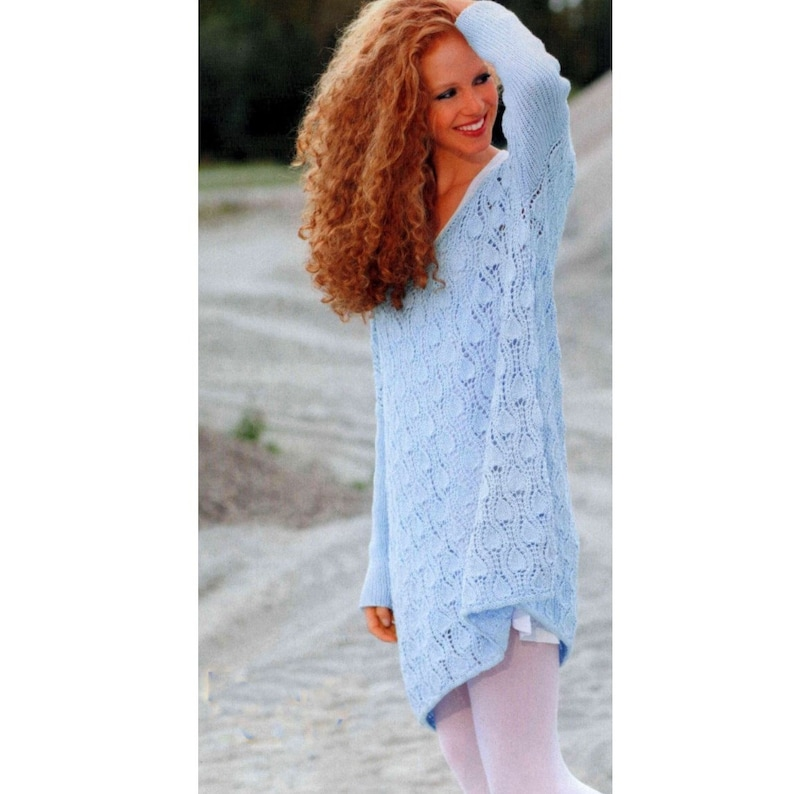 604f00713 Vintage Knitting Pattern Oversize Tunic Sweater Long Line
