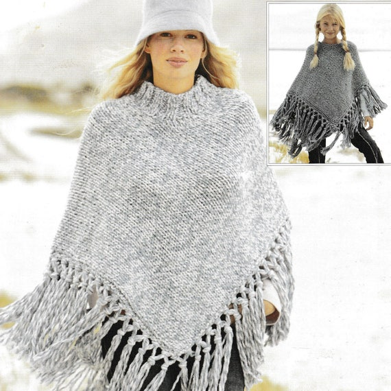 Vintage Knitting Pattern Ladies And Girls Fringed Poncho Etsy