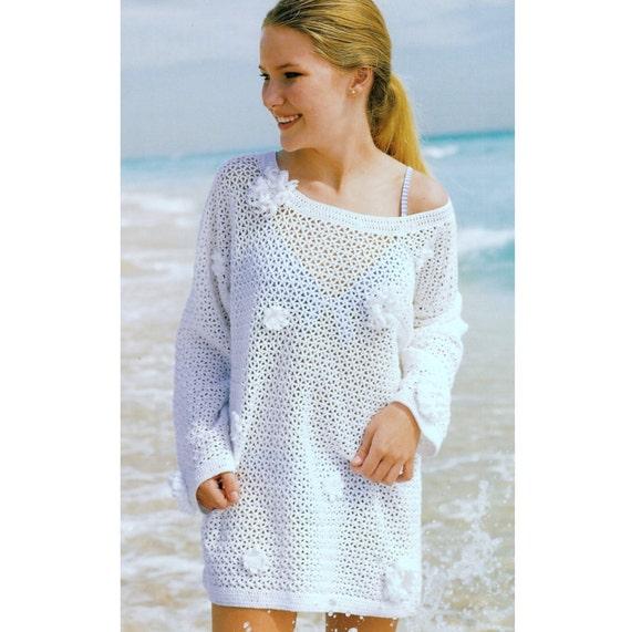 41a0f825033 Vintage Crochet Pattern Flower Embellished Mesh Tunic Sweater