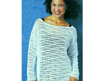 Vintage Crochet Pattern   Mesh Tunic Sweater  Lace Beach Cover Up Pullover Plus Sizes