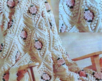 Vintage Crochet Pattern  for Floral Popcorn Afghan   INSTANT DOWNLOAD PDF  Throw Blanket  Granny Squares  Flower