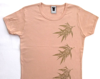 Three Bamboo Tee women's screen print t-shirt in tan/gold, m/one size, 100% combed cotton