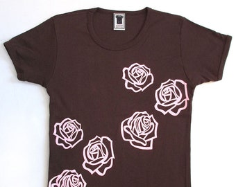 Roses Tee women's screen print t-shirt in brown/pink, m/one size, 100% combed cotton
