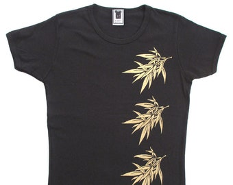 Three Bamboo Tee women's screen print t-shirt in black/gold, m/one size, 100% combed cotton