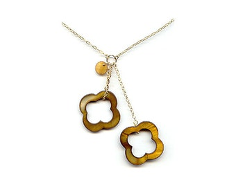"""Double Quatrefoil Gold Necklace with 14k gold-filled 20"""" chain"""