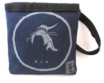 Geisha Hairstyle Screenprint Dark Denim Pocket Bag