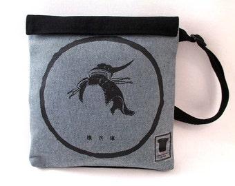 Geisha Hairstyle Screenprint Light Denim Pocket Bag