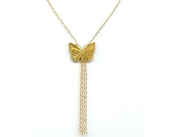 """Tasseled Gold Butterfly Necklace with 14k gold-filled 16"""" chain"""