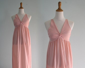 d7d284bc15 CLEARANCE 80s Pink Nightgown - Vintage Long Nightgown with Knotted Bodice -  Vintage 80s Nightgown in Pink - Vintage 1980s Night Gown M