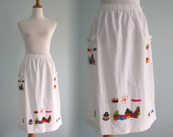 Vintage Embroidered Skirt - Cute 80s Cotton Gauze Skirt with Folk Embroidery - Vintage Cotton Midi Skirt - Vintage 1970s Skirt M L
