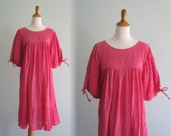 Cotton Gauze Dress - Boho 70s Pink Gauze Festival Dress - Vintage Pink Cotton Tent Dress - Vintage 1970s Dress S M L