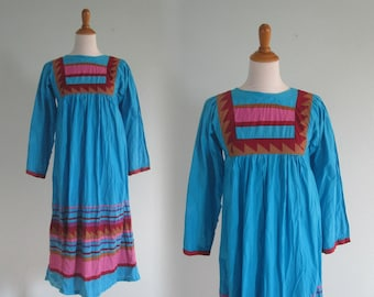 Indian Cotton Dress - Boho 70s India Cotton Dress in Turquoise and Pink - Vintage Cotton Festival Dress - Vintage 1970s Dress XS S