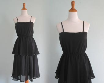 70s Black Sundress - Vintage Sheer Black Cocktail Dress with Tiered Skirt -  Sexy 70s Sheer Black Dress - Vintage 1970s Dress M f91f463c57e0