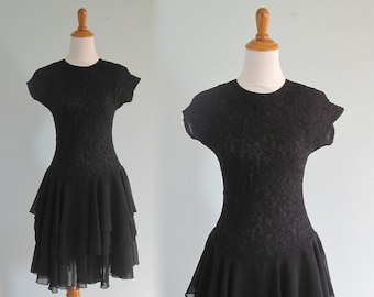 db319198991 90s Black Dress - Vintage Black Stretch Lace Dress with Tiered Skirt - Sexy  90s Late Edition Dress - Vintage 1990s Dress S M