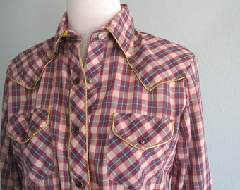 2c6a1748c65 LAST CHANCE CLEARANCE Vintage Western Shirt - Country Glam 80s Avante West  Red Plaid Rodeo Shirt - Vintage 1980s Country Western Shirt M