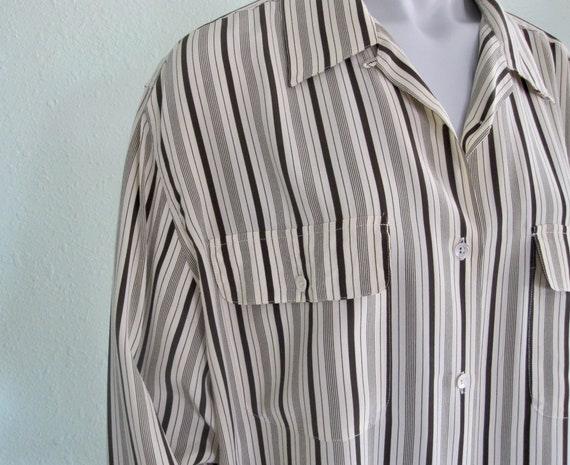 90s Multi Color Striped Silk Blouse US 5-6 1990s Long Sleeve
