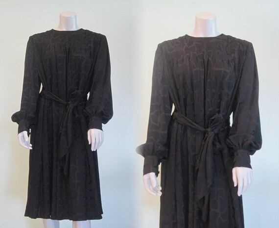 Pauline Trigere Dress - Gorgeous 80s Black Silk S… - image 1
