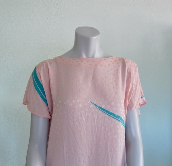 Flora Kung Dress - Pretty 80s Pastel Silk Dress -… - image 2