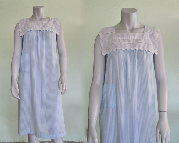 Cacharel Nightgown - Pretty 80s Sheer Blue Designe