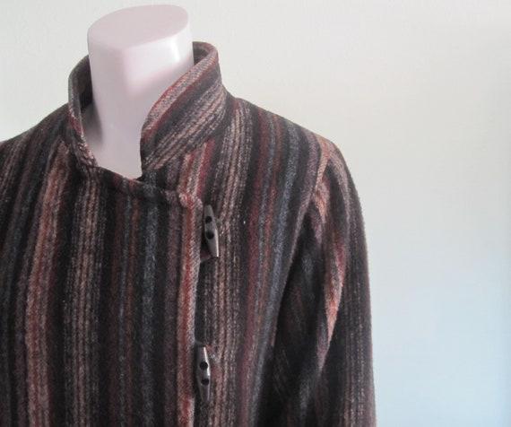 70s Luba Coat - Vintage Striped Wool Coat - Gorgeo