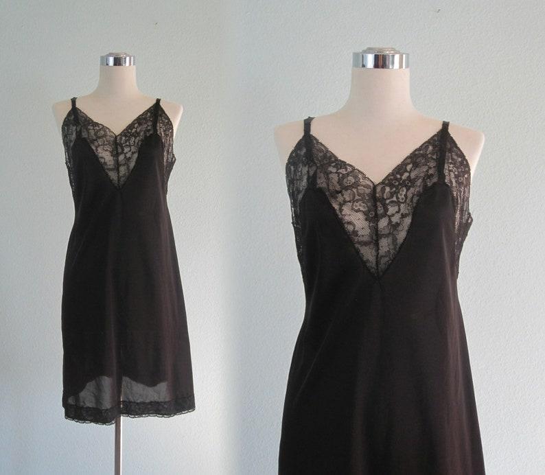 Vintage 1940s Vanity Fair Slip S 40s Vanity Fair Slip Vintage Black Lace Dress Slip Lovely 40s Black Slip by Vanity Fair