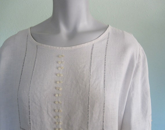 20s Linen Dress - Vintage White Linen Dress - Swe… - image 4