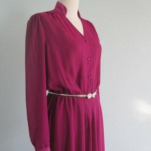 80s Midi Dress Vintage Magenta Dress by Charlotte Ford Boutique Vintage 1980s Dress M Chic 80s Cocktail Dress