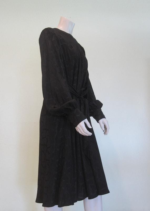 Pauline Trigere Dress - Gorgeous 80s Black Silk S… - image 4