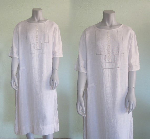 20s Linen Dress - Vintage White Linen Dress - Swee