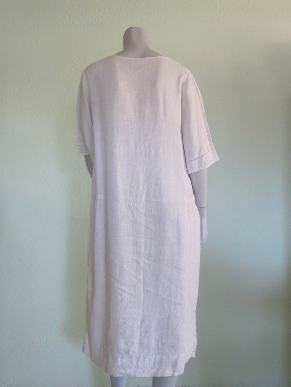 20s Linen Dress - Vintage White Linen Dress - Swe… - image 7
