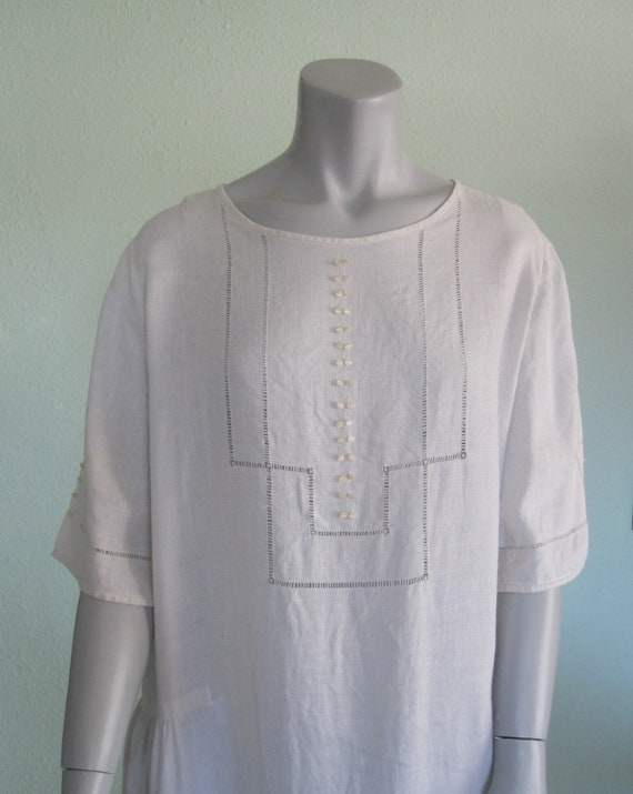 20s Linen Dress - Antique White Linen Dress - Swee