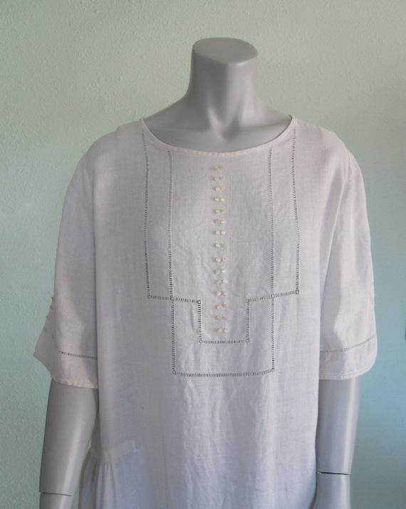 20s Linen Dress - Antique White Linen Dress - Swee