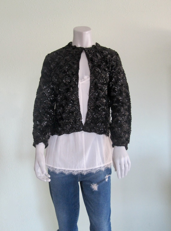 50s Beaded Cardigan - Vintage Black Sequin Cardiga