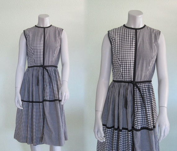 60s Gingham Sundress - Vintage Black & White Gingh