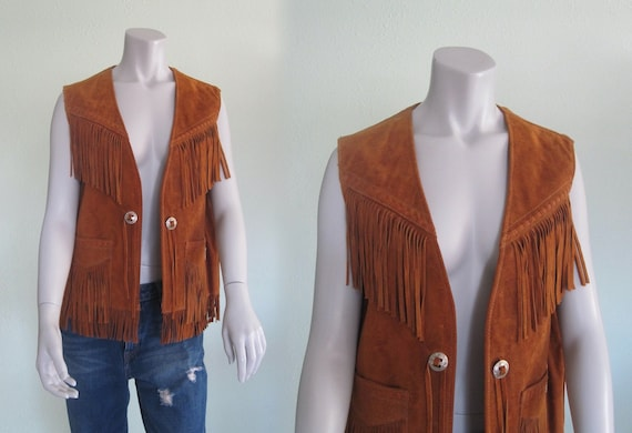 Fringed Suede Vest - 80s Brown Suede Fringed Vest