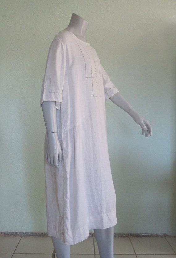 20s Linen Dress - Vintage White Linen Dress - Swe… - image 5