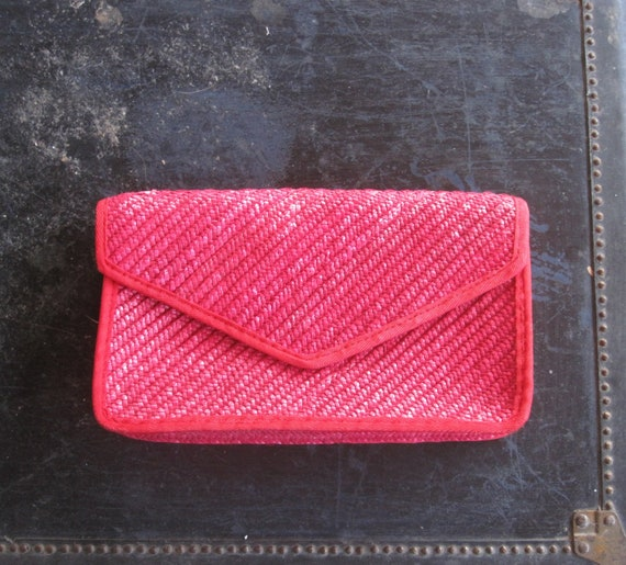 60s Pappagallo Bag - Vintage Red Straw Clutch - Cu