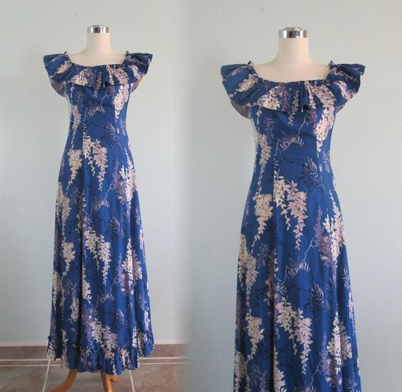 40s Hawaiian Dress - Vintage Blue Floral Hawaiian