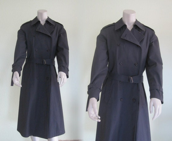 London Fog Navy Trench - Classic 80s Blue Trench C