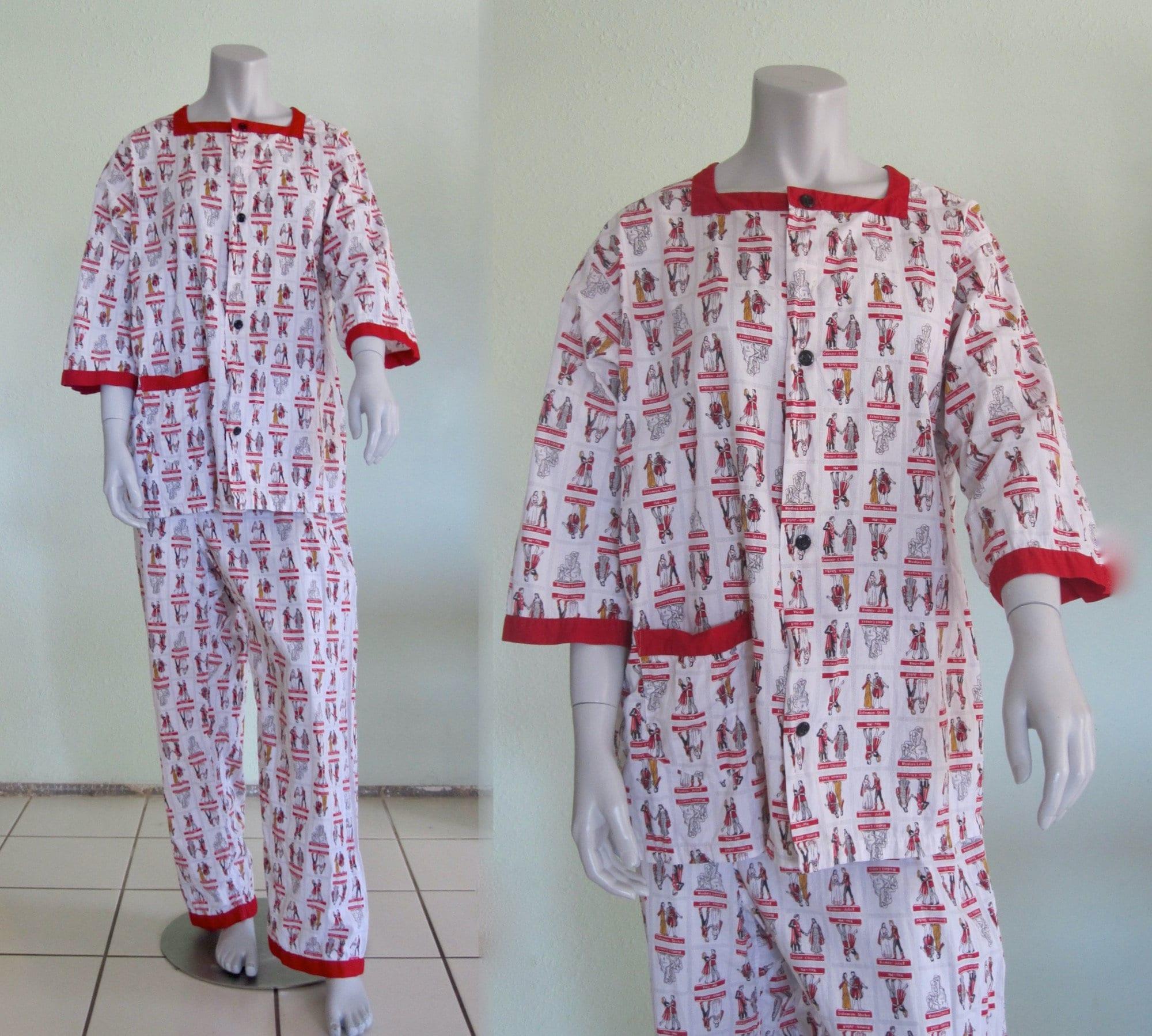 1960s – 70s Men's Ties | Skinny Ties, Slim Ties 60S Pleetway Pajamas - Mid Century Novelty Great Lovers Print Cute Mens Cotton Vintage 1960S L Xl $0.00 AT vintagedancer.com