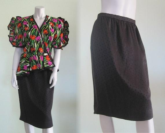 80s Cocktail Suit - Vintage Floral Silk Suit with
