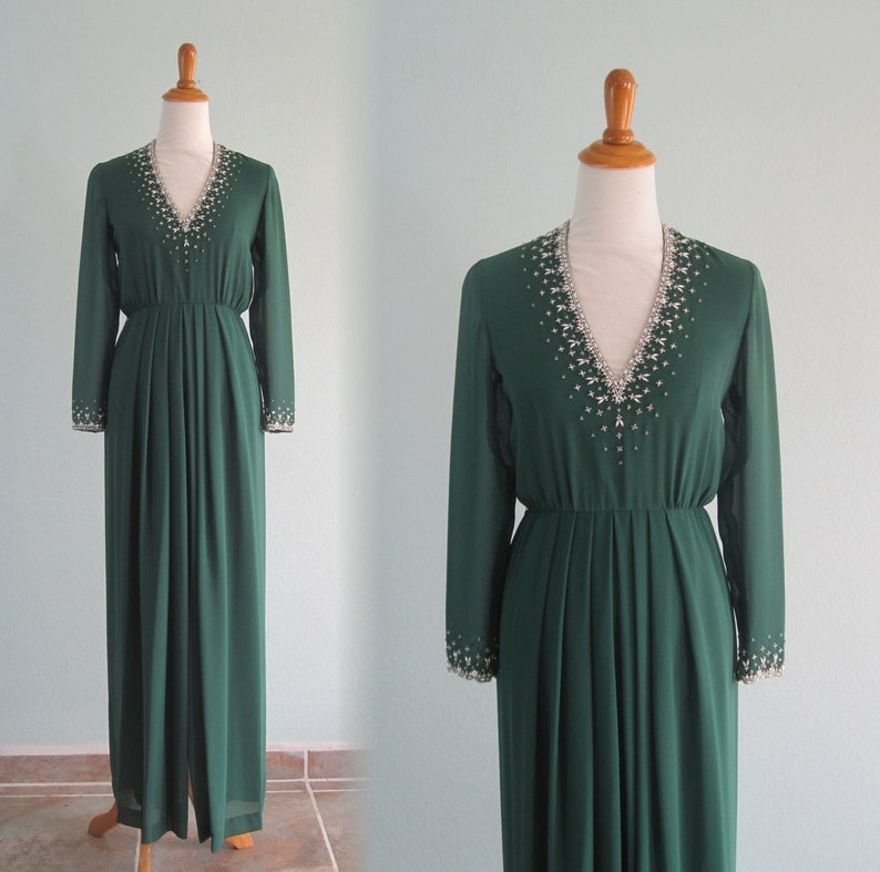 ff824f739a1b 80s Beaded Gown Vintage Forest Green Evening Dress by | Etsy