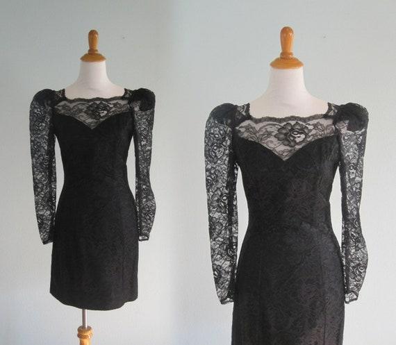 80s Lace Dress Vintage Black Lace Cocktail Dress Sexy 80s  c4d2772a6
