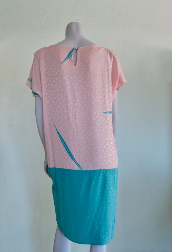 Flora Kung Dress - Pretty 80s Pastel Silk Dress -… - image 6