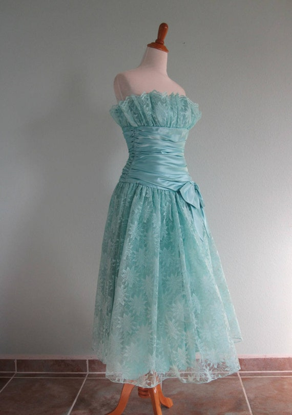 80s Formal Dress Vintage Aqua Satin And Lace 50s Style Etsy