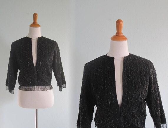 50s Beaded Jacket - Gorgeous 50s Black Soutache Ja