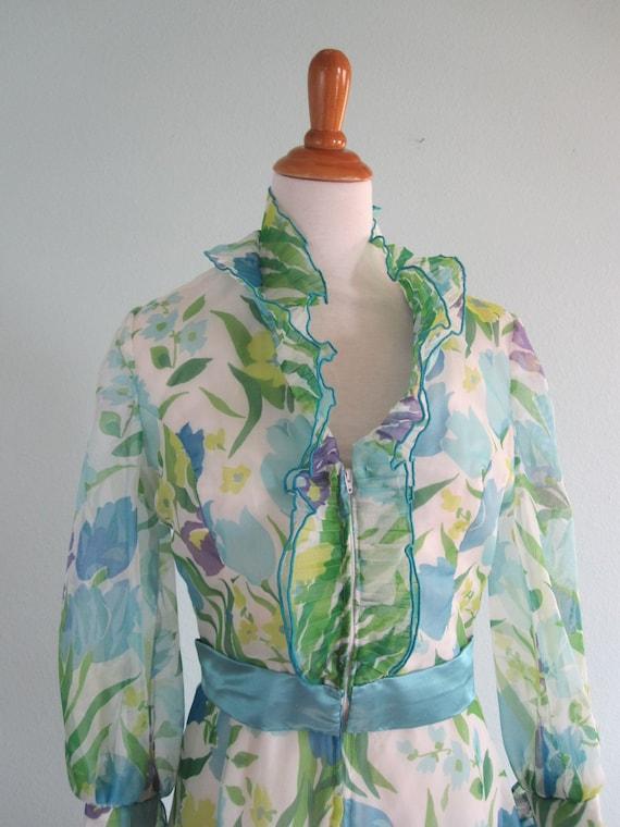 70s Bill Tice Dress - Vintage Ruffled Floral Host… - image 2