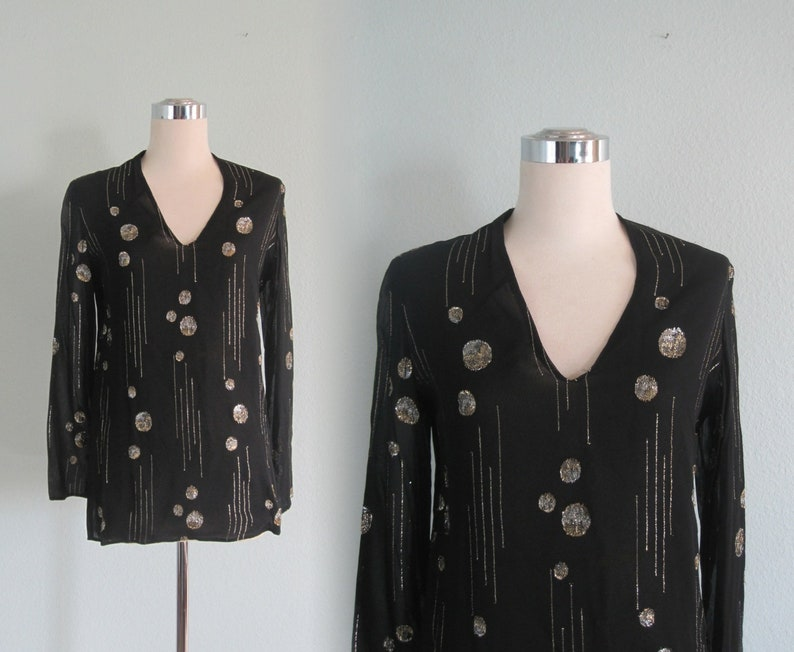 7ad2b66aa1c116 70s Sheer Top Vintage Black Disco Top with Gold and Silver