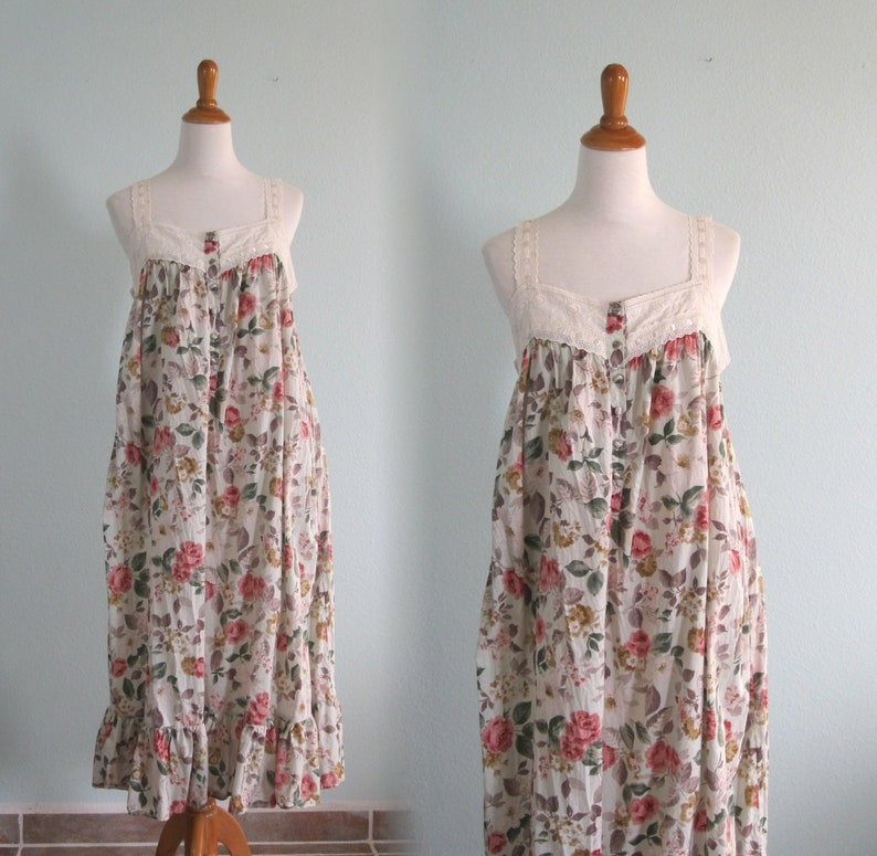 8bbeb691b5 90s Cotton Nightgown Vintage Floral Print Nightgown by